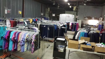 Here's an entire uniform store being staged at our warehouse before going out to a partner's facility.